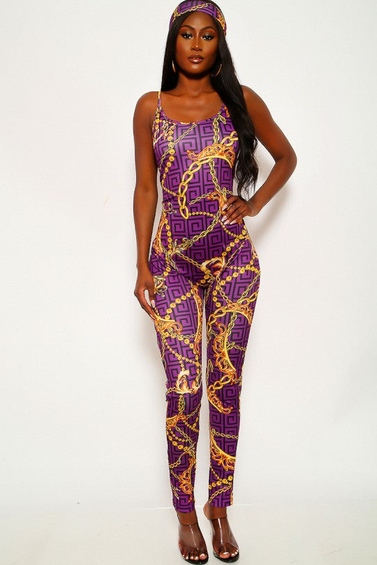 Women's Purple Marigold Print Jumpsuit