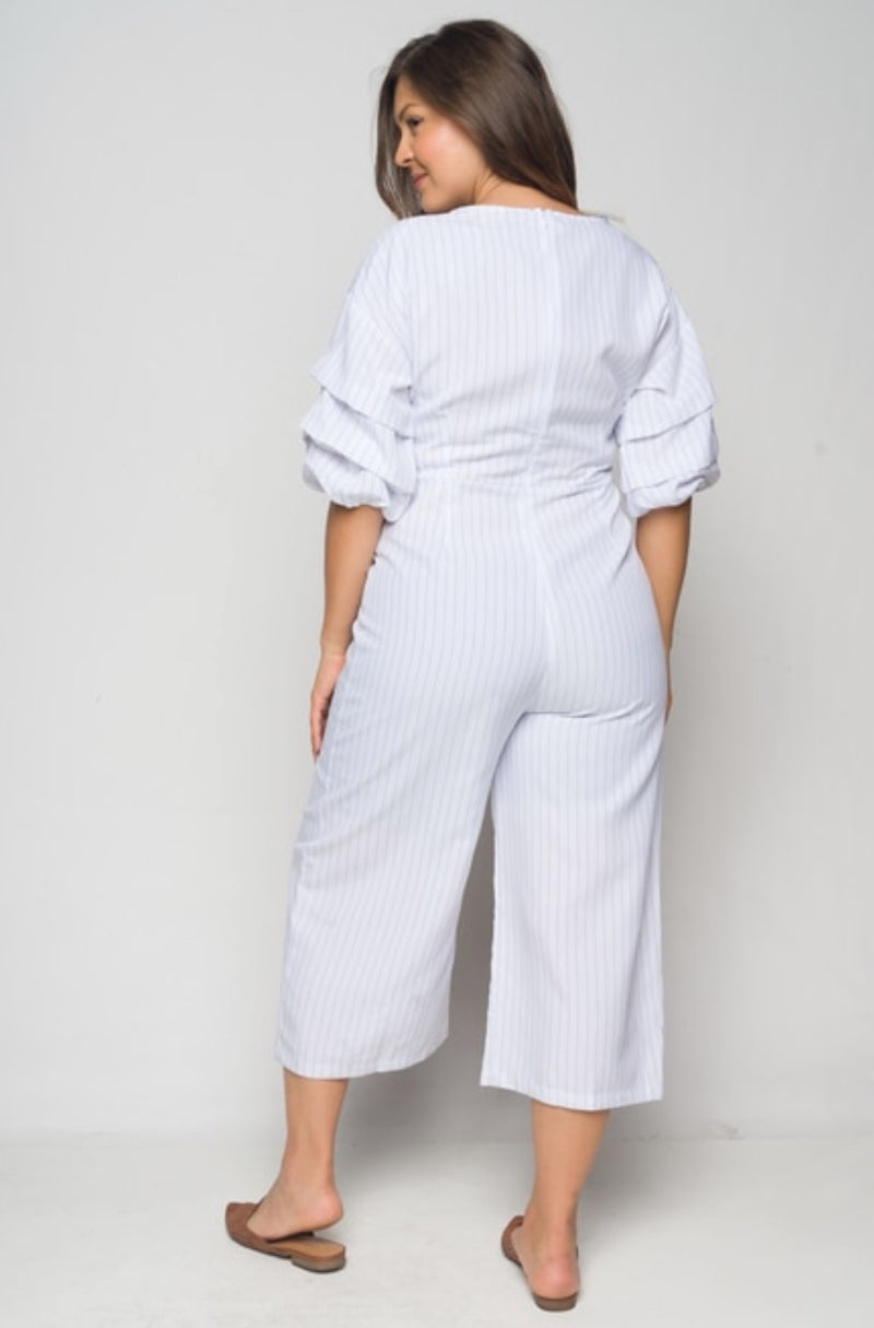 Women's V Neck Wide Leg Jumpsuit