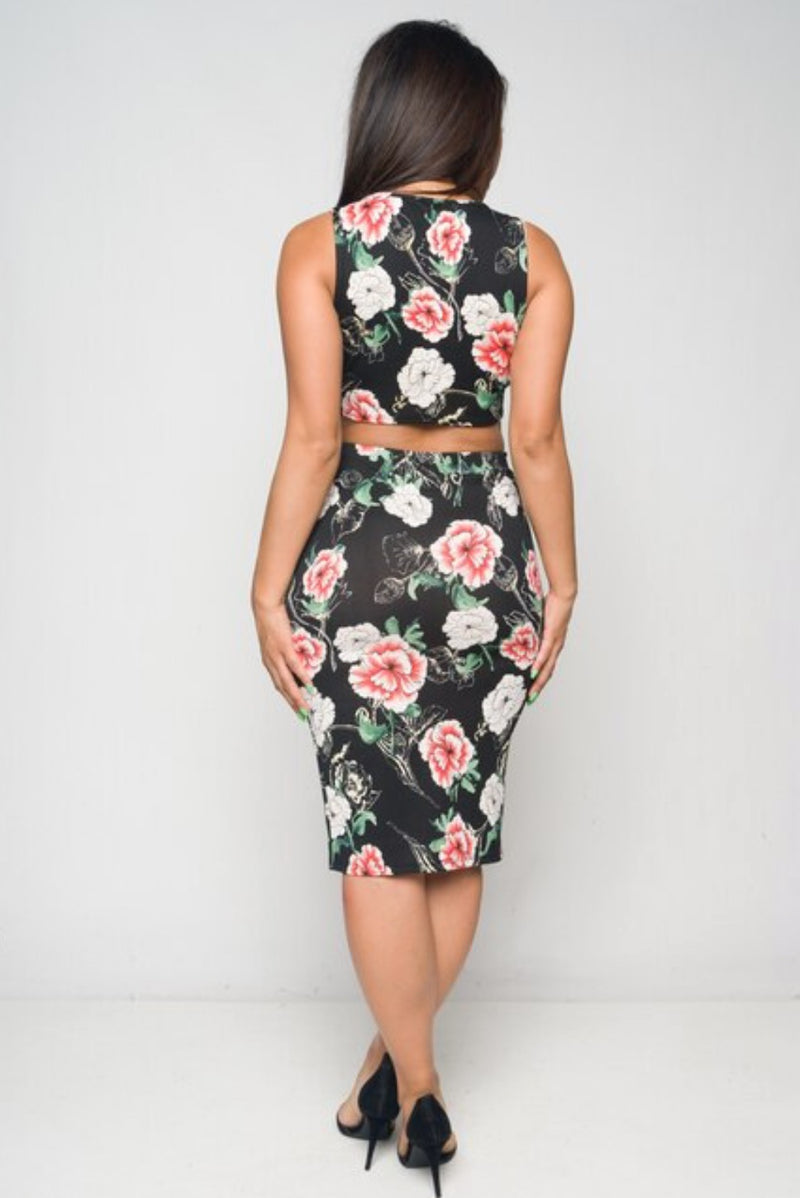 Junior's  Floral Print Crop Top and Skirt Set