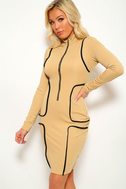 Women's Long Sleeve Beige Bodycon Dress