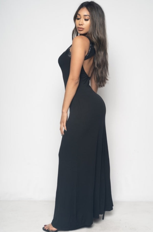 Junior's Open Back Sleeveless Maxi Dress