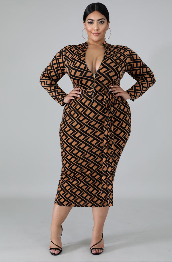 Women's Long Sleeve Maze Print Bodycon Dress