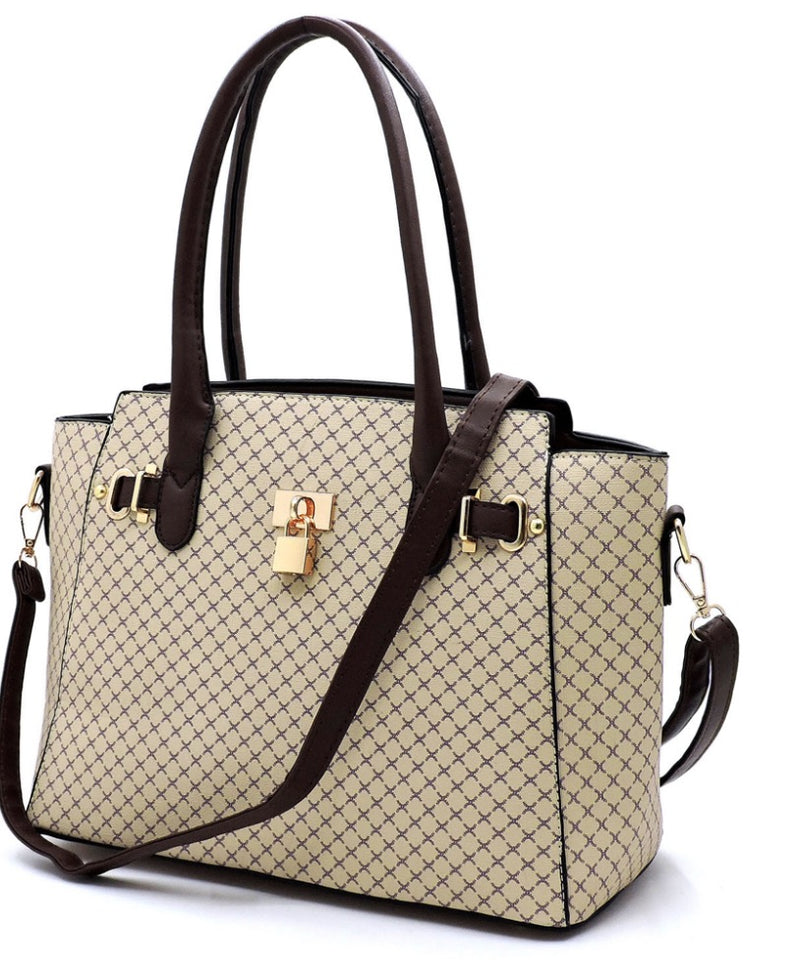 Women's Monogrammed Padlock Handbag with Matching Crossbody