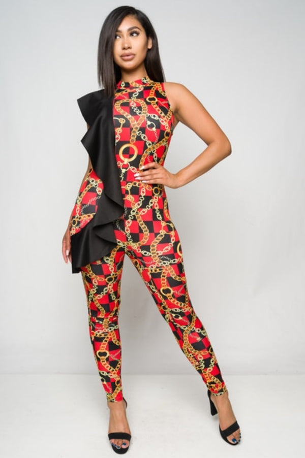 Women's Sleeveless Checkered Print Jumpsuit
