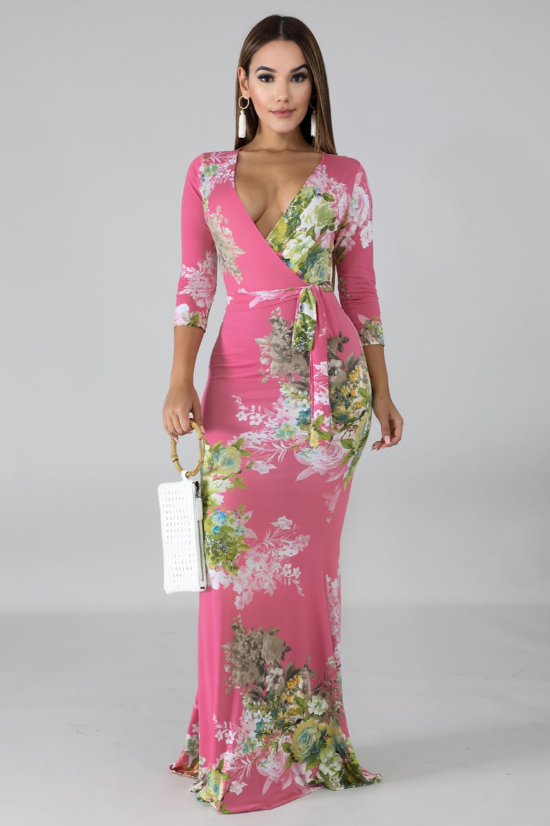 Women's Pink Floral Blossom Mermaid Maxi Dress