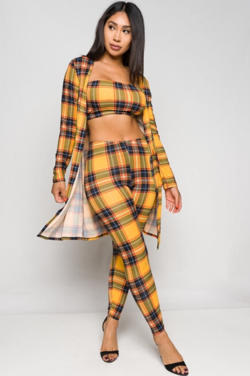 Women's Long Sleeve Top and Leggings Plaid Set
