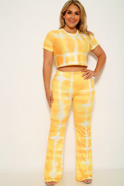 Yellow And White Plus Size Crop Top And Pants Set
