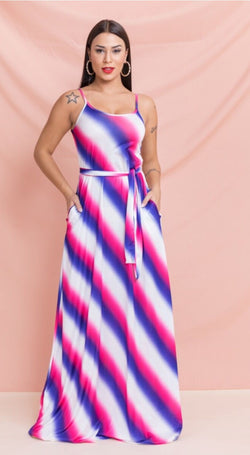 Women's Sleeveless Magenta Maxi Dress