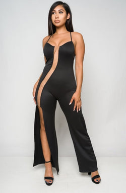 Junior's Sleeveless High Cut Out Slit Jumpsuit