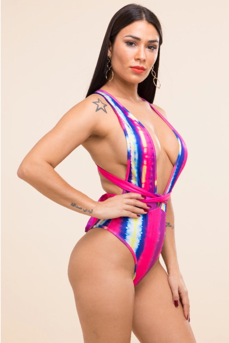 Women's Sexy Open Back Colorful Bodysuit