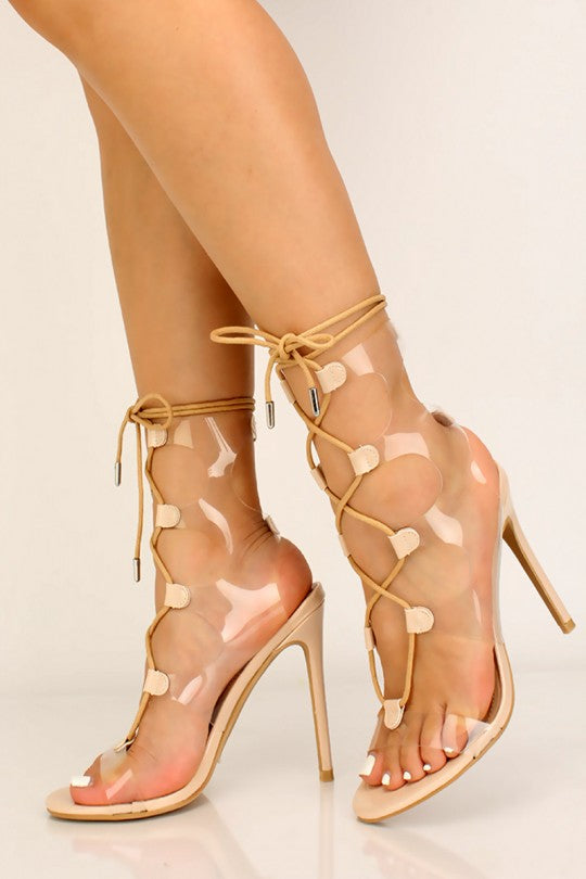 Women's Nude Color Strappy Lace Up High Heels