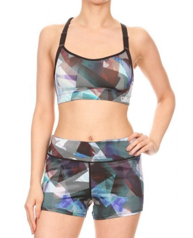 Women's Geometric Print Sports Top And Shorts Set
