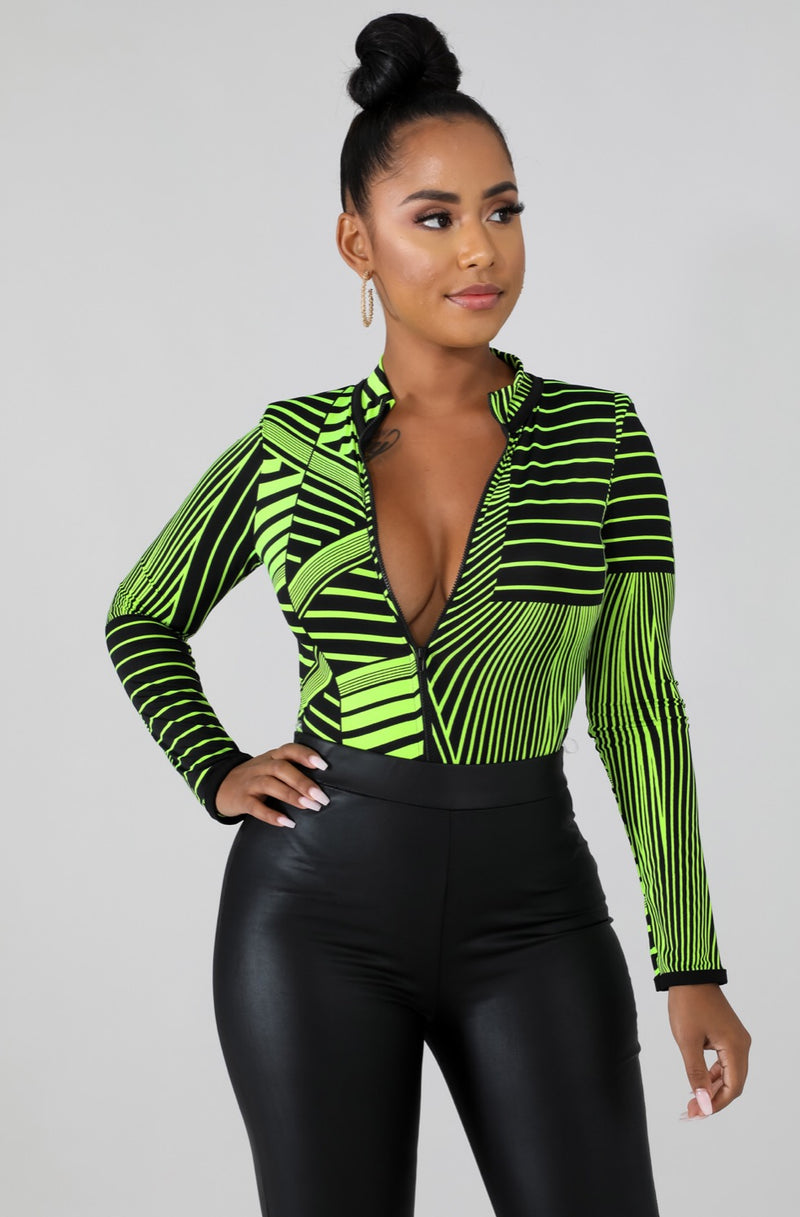 Women's Green And Black Symmetrical Long Sleeve Bodysuit