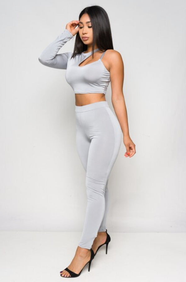 Junior's Asymmetric One Shoulder Crop Top and Leggings Set