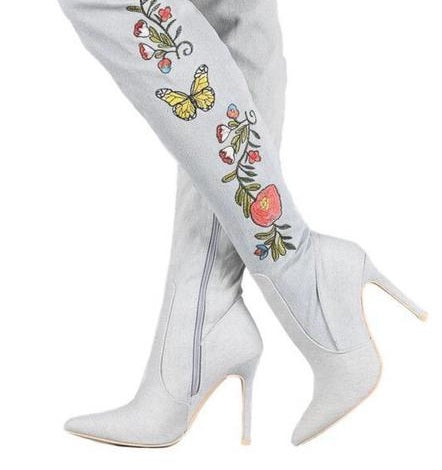 Women's Butterfly-Floral Knee-High Boots
