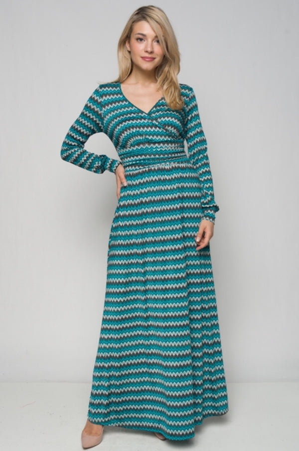Women's Long Sleeve Zig Zag Print Maxi Dress