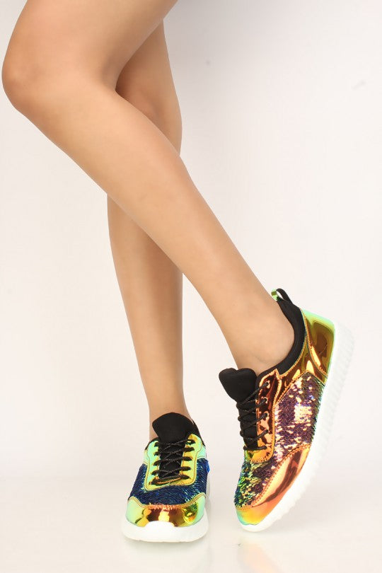 Women's Holographic Sequins Lace Up Sneakers