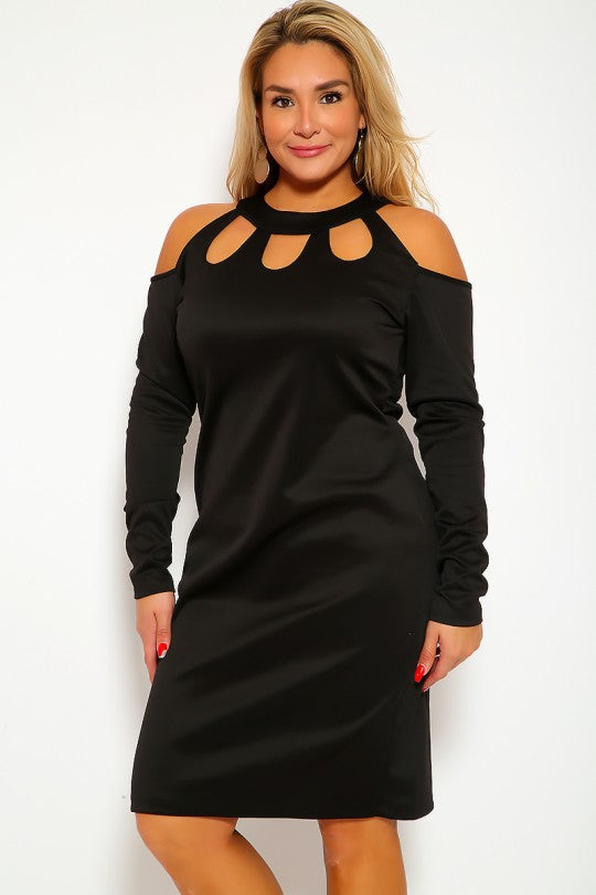 Black Long Sleeve Plus Size Midi Dress