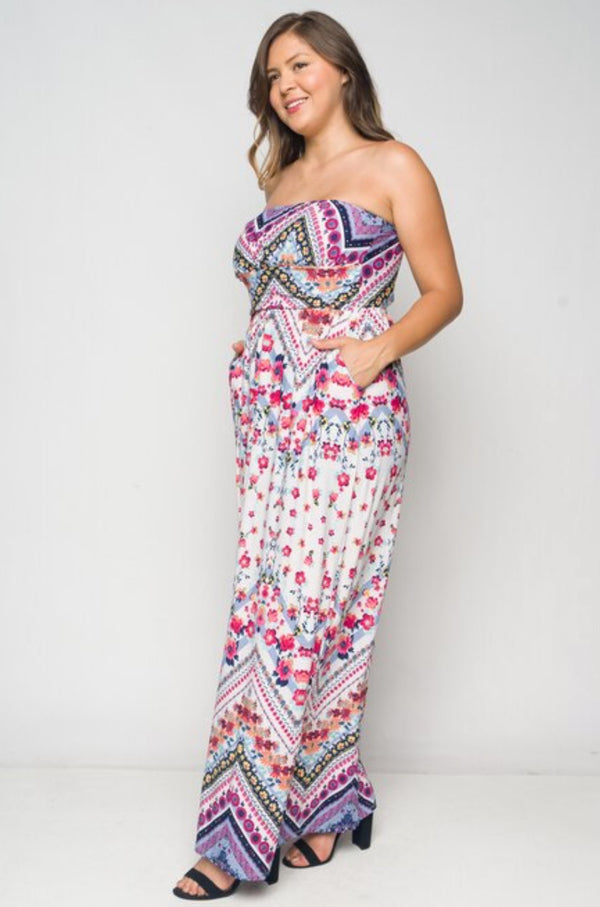 Plus Size Women's Tube Top Maxi Dress