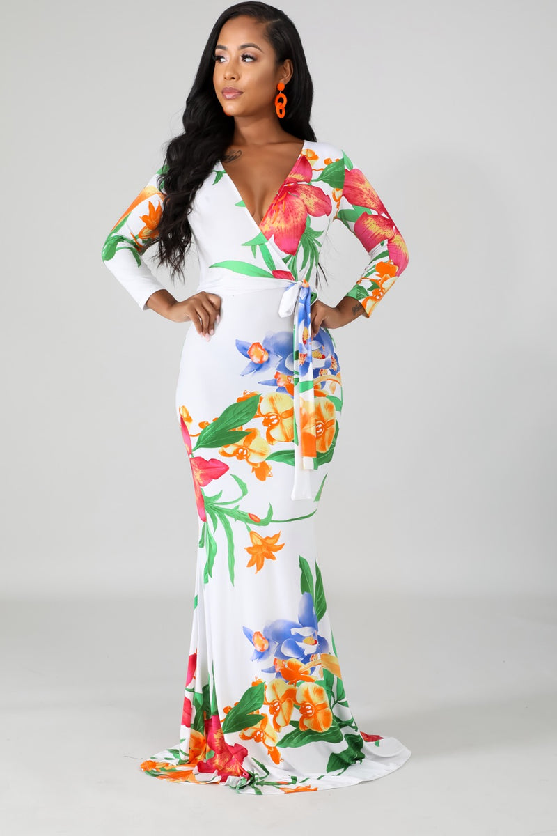 Women's Floral Print Mermaid Maxi Dress