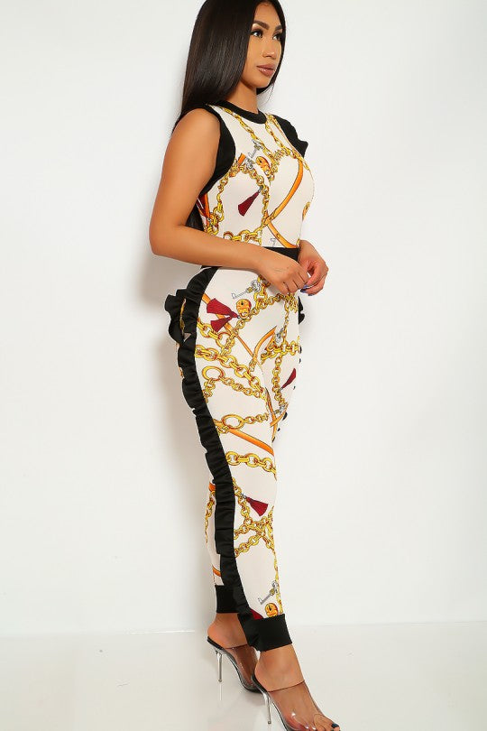 Junior's Graphic Print Sleeveless With Ruffles Jumpsuit