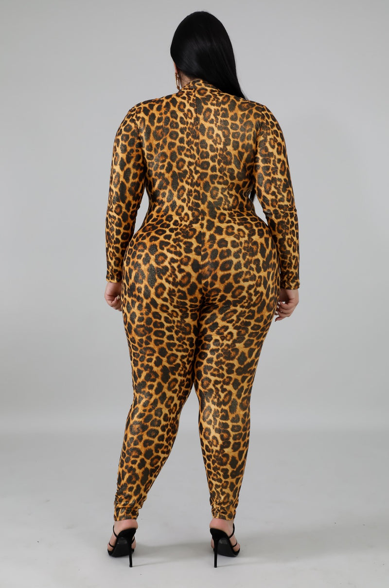 Women's Cheetah Print Long Sleeve Jumpsuit