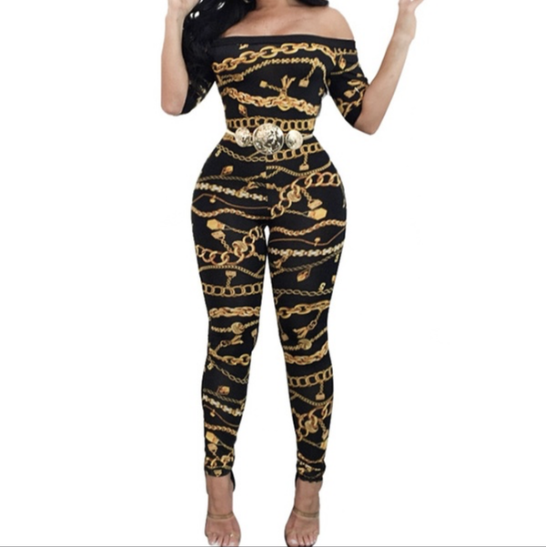 Women's Chain Print Off-Shoulder Jumpsuit