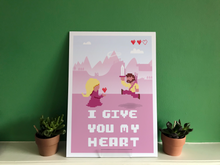 Load image into Gallery viewer, 8-Bit Video game - I give you my heart | Custom Hero art print