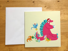 Load image into Gallery viewer, Cute Dinosaur Scene Christmas - Greeting Card