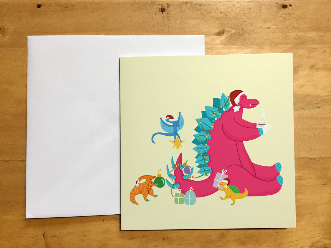 Cute Dinosaur Scene Christmas - Greeting Card