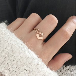 Custom Adjustable Heart Name Ring