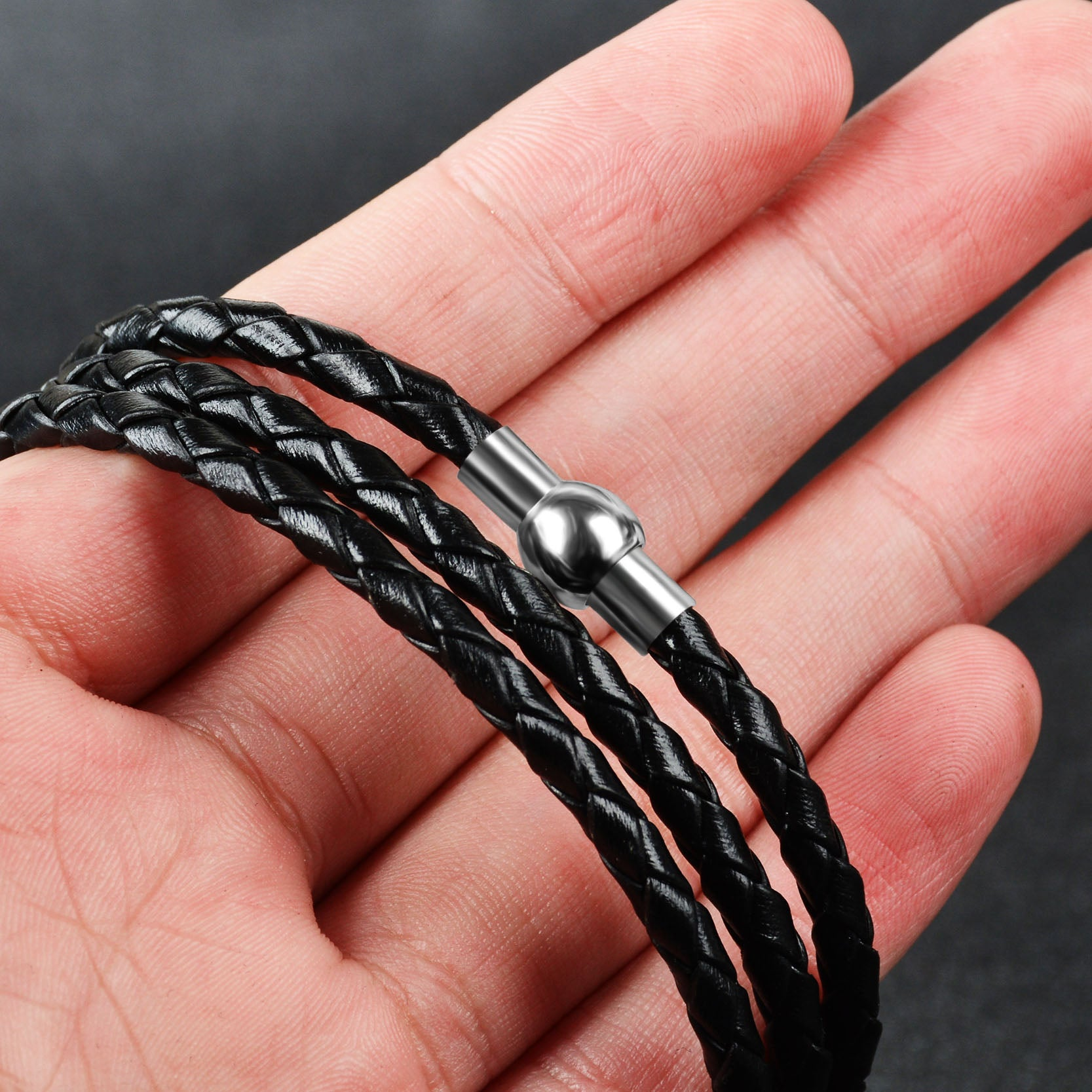 Custom Steel Beads Leather Bracelet