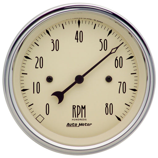 "AutoMeter 3-3/8"" In-Dash Tachometer, 0-8,000 RPM, Antique Beige"