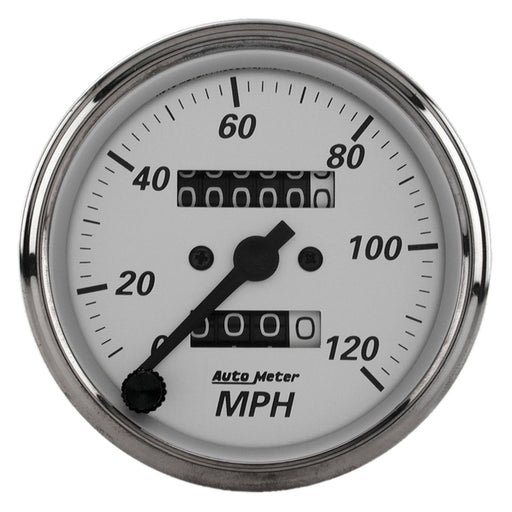 AutoMeter 3-1/8in Silver Bezel/White Face 120 MPH Mechanical In-Dash Tacho/Speedometer w/ Trip Gauge