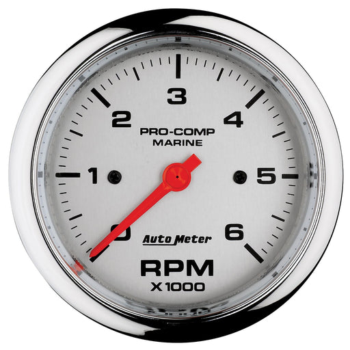"AutoMeter 3-3/8"" In-Dash Tachometer, 0-6,000 RPM, Marine Chrome"