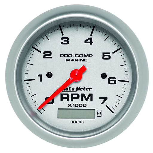 "AutoMeter 3-3/8"" In-Dash Tachometer with Hour Meter, 0-7,000 RPM, Marine Silver"