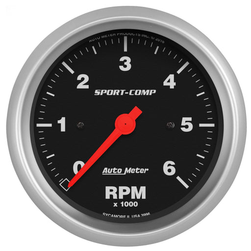 "AutoMeter 3-3/8"" In-Dash Tachometer, 0-6,000 RPM, Sport-Comp"