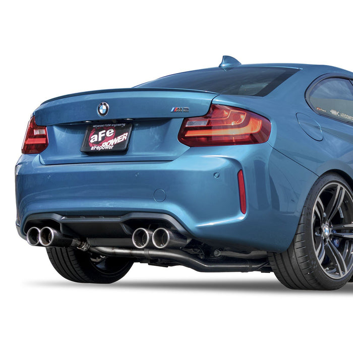 aFe Power Mach Force-Xp Down Pipe-Back Exhaust 3 to 2-1/2 IN 304 S/S w/ Carbon Fiber Tips BMW M2 (F87) 16-18 L6-3.0L (t) N55