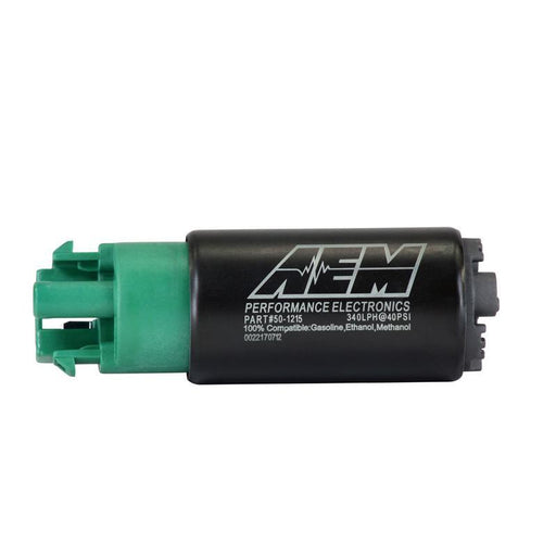 AEM 340lph E85-Compatible High Flow In-Tank Fuel Pump (65mm Short Offset Inlet with hooks, Inline)