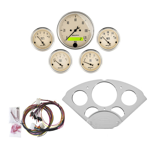 AutoMeter 5 Gauge Direct-Fit Dash Kit, Chevy Car 55-56, Antique Beige