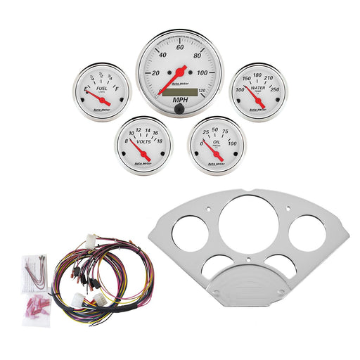 AutoMeter 5 Gauge Direct-Fit Dash Kit, Chevy Car 55-56, Arctic White
