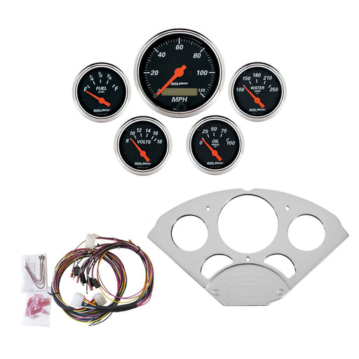 AutoMeter 5 Gauge Direct-Fit Dash KIT, Chevy Car 55-56, Designer Black