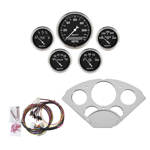AutoMeter 5 Gauge Direct-Fit Dash Kit, Chevy Car 55-56, Old Tyme Black