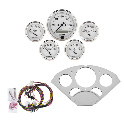 AutoMeter 5 Gauge Direct-Fit Dash KIT, Chevy Car 55-56, Old Tyme White