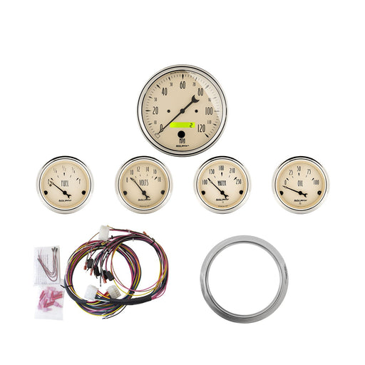AutoMeter 5 Gauge Direct-Fit Dash KIT, Chevy Car 59-60, Antique Beige