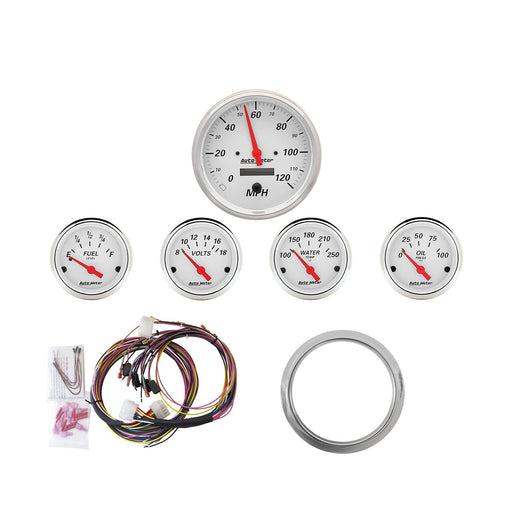 AutoMeter 5 Gauge Direct-Fit Dash KIT, Chevy Car 59-60, Arctic White