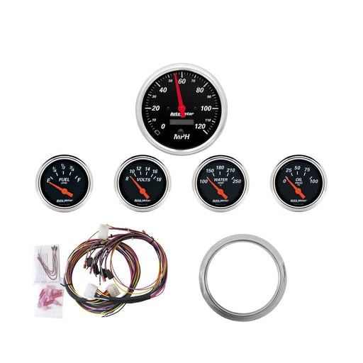 AutoMeter 5 Gauge Direct-Fit Dash KIT, Chevy Car 59-60, Designer Black