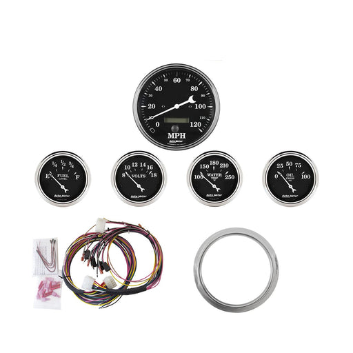 AutoMeter 5 Gauge Direct-Fit Dash KIT, Chevy Car 59-60, Old Tyme Black