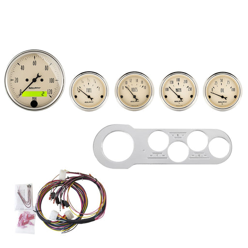 AutoMeter 5 Gauge Direct-Fit Dash Kit, Chevy Car 53-54, Antique Beige
