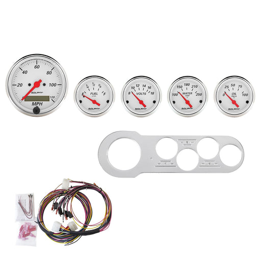 AutoMeter 5 Gauge Direct-Fit Dash Kit, Chevy Car 53-54, Arctic White